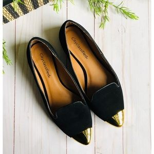 Cityclassified Black Flats with Gold Tip, Size 7
